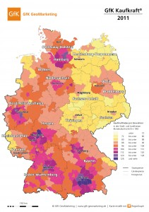 Kaufkraft in den deutschen Stadt- und Landkreisen