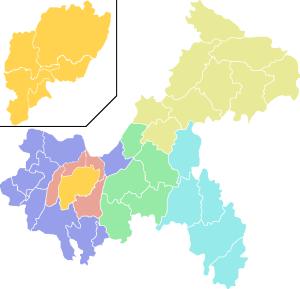 """Karte von Tschungking. Quelle: """"ColorChongqingMap"""" von ASDFGH aus der englischsprachigen Wikipedia."""