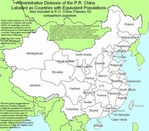 Karte China nach Einwohnern