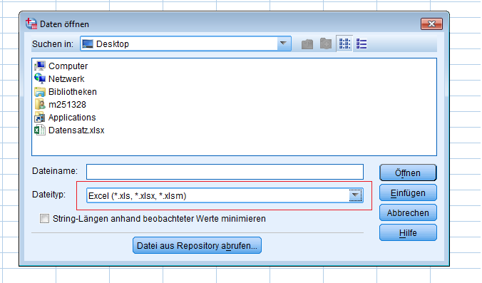 Öffnen Excel in SPSS