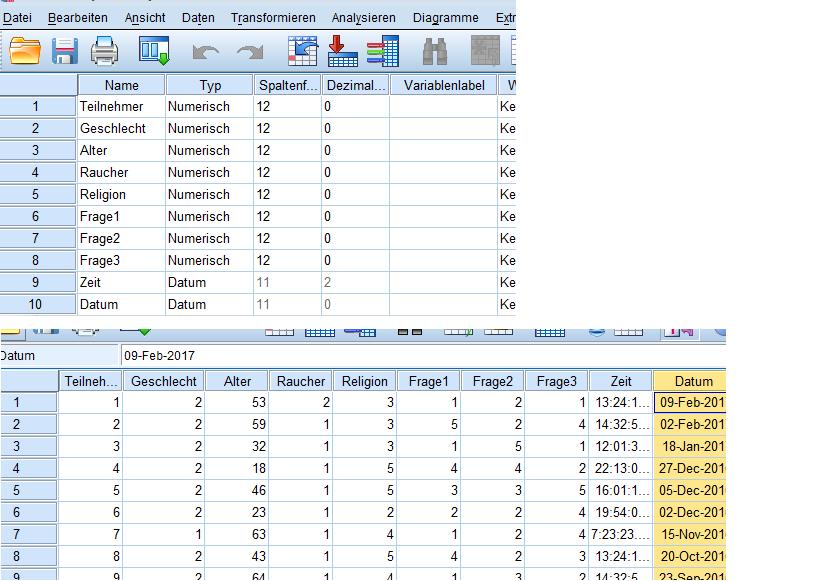 Variablen- und Datenansicht in Excel