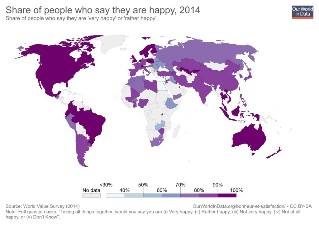 Menschen die sich als glücklich beschreiben Statistik