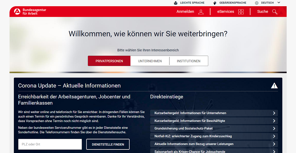 Homepage Agentur für Arbeit